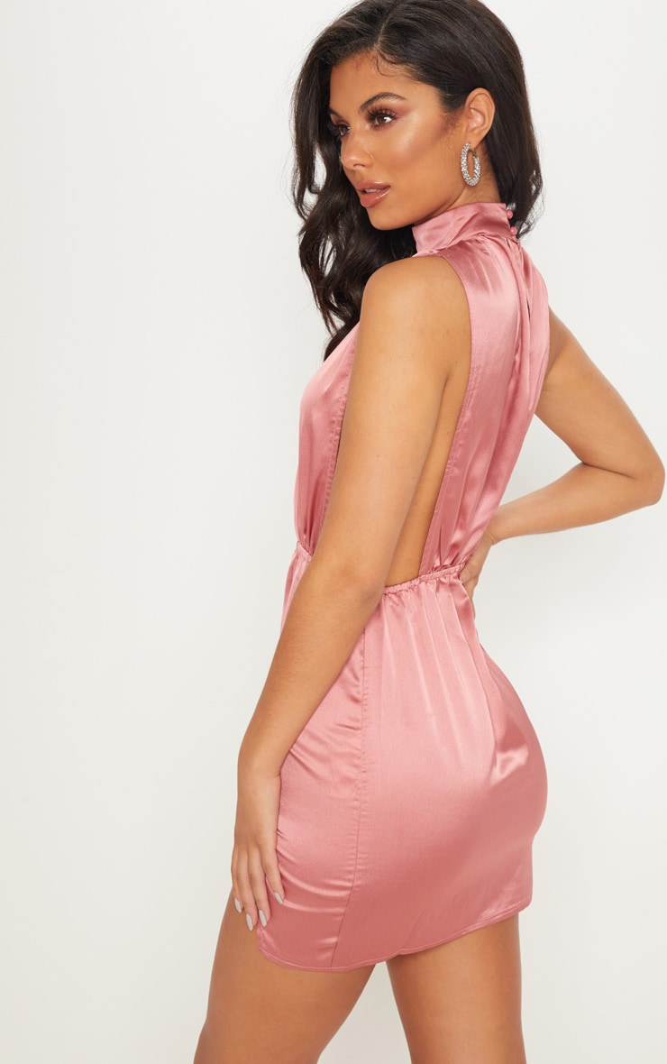 Rose Satin High Neck Side Boob Bodycon Dress 2