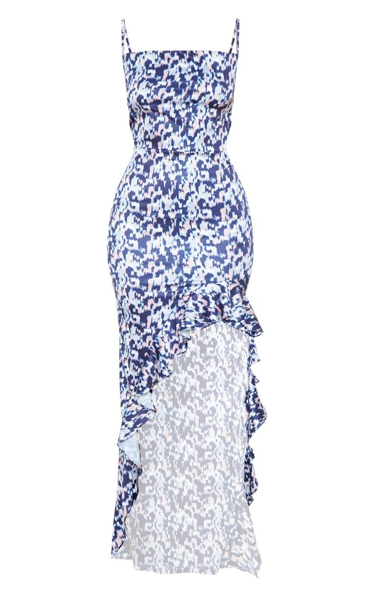 Navy Geo Print Cowl Neck Frill Hem Maxi Dress 3