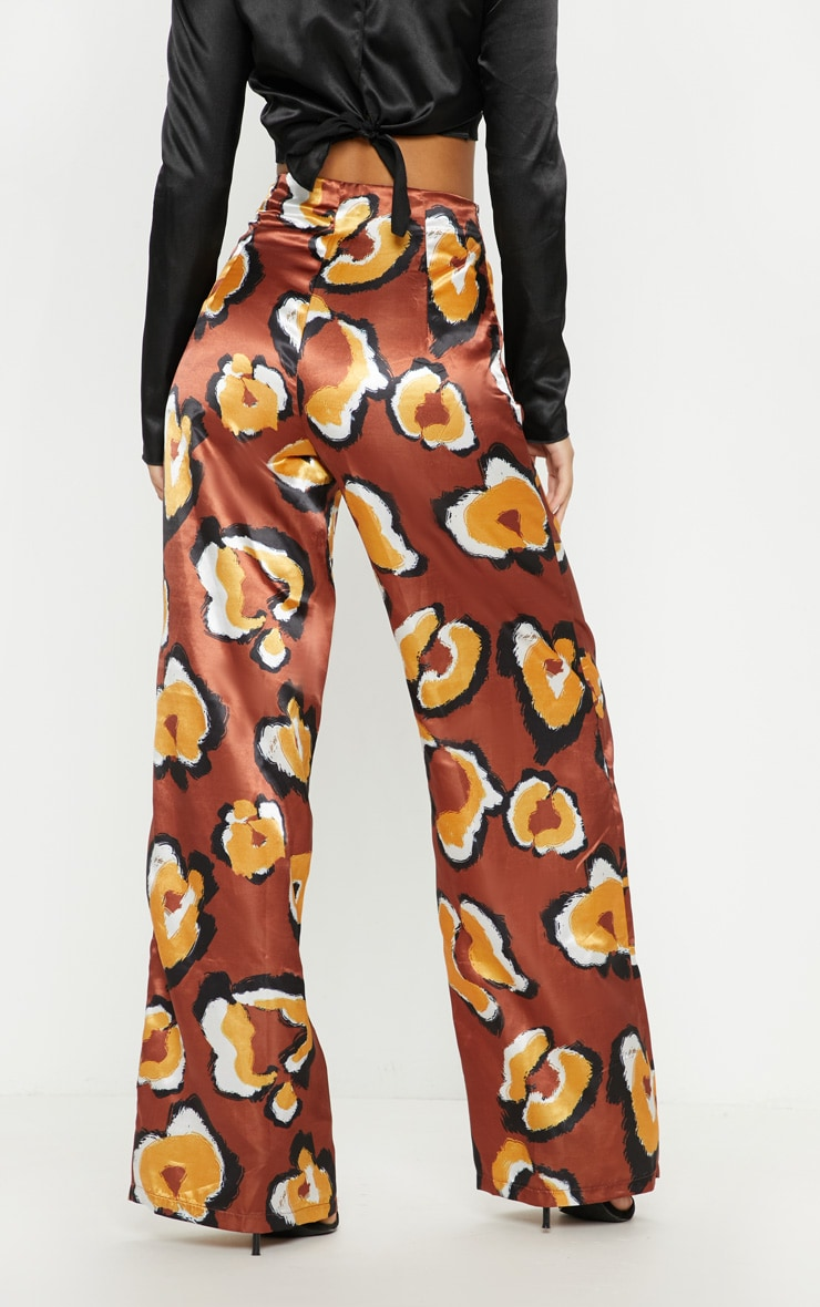 Rust Leopard Printed Wide Leg Pants 4
