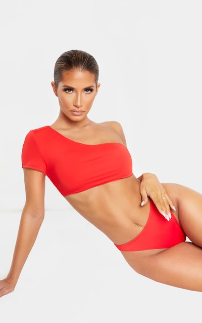 Red High Leg Cheeky Bikini Bottom
