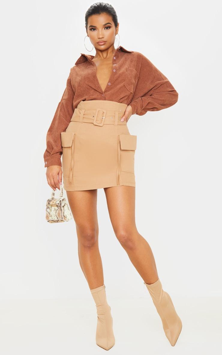 Stone Belted Pocket Detail Cargo Mini Skirt  5