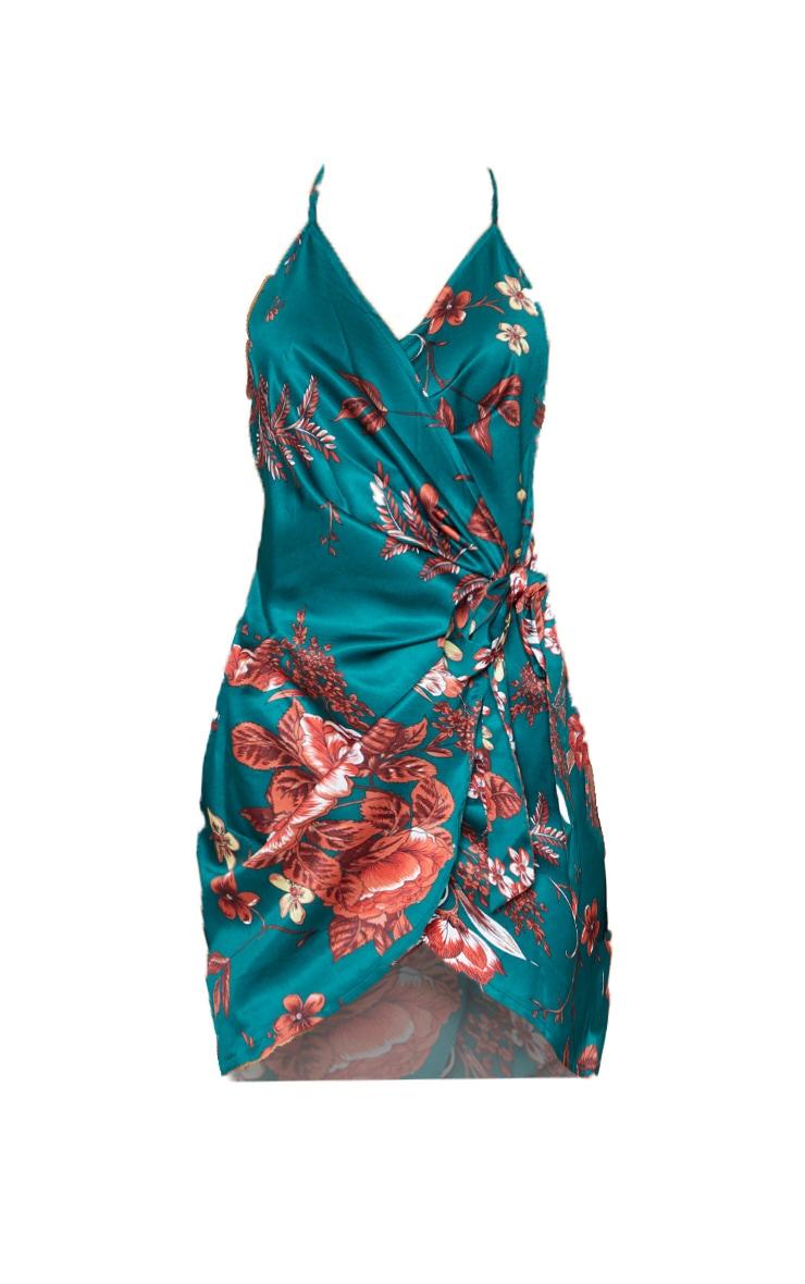 Emerald Green Floral Print Satin Halterneck Wrap Bodycon Dress 3
