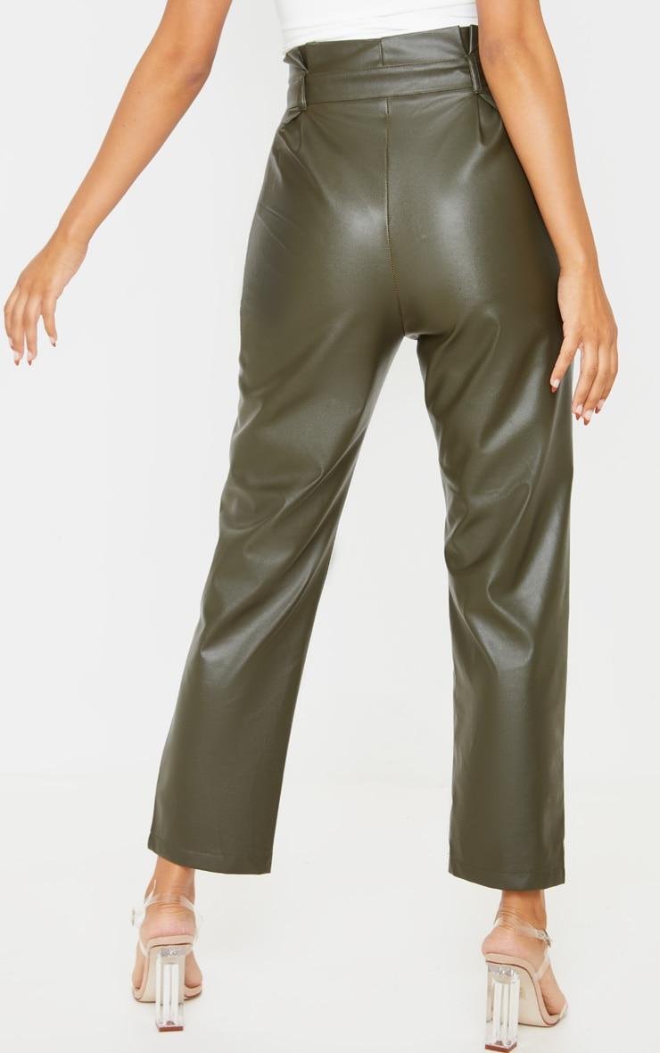 Khaki Tie Waist PU Pants 4