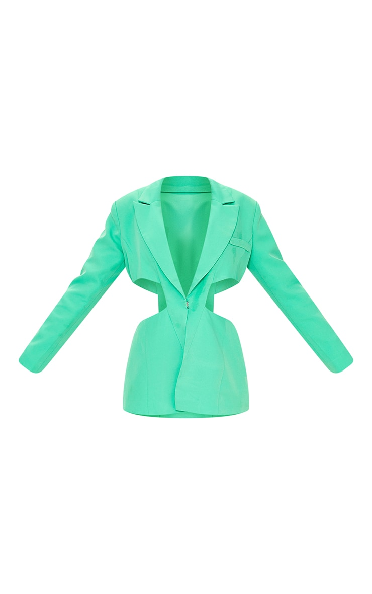 Green Woven Extreme Cut Out Blazer 5
