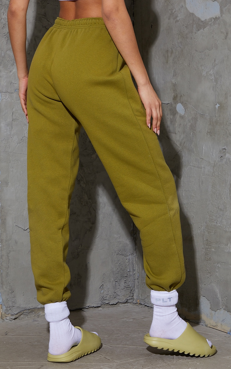 Olive Green Pocket Thigh Detail Casual Joggers 3