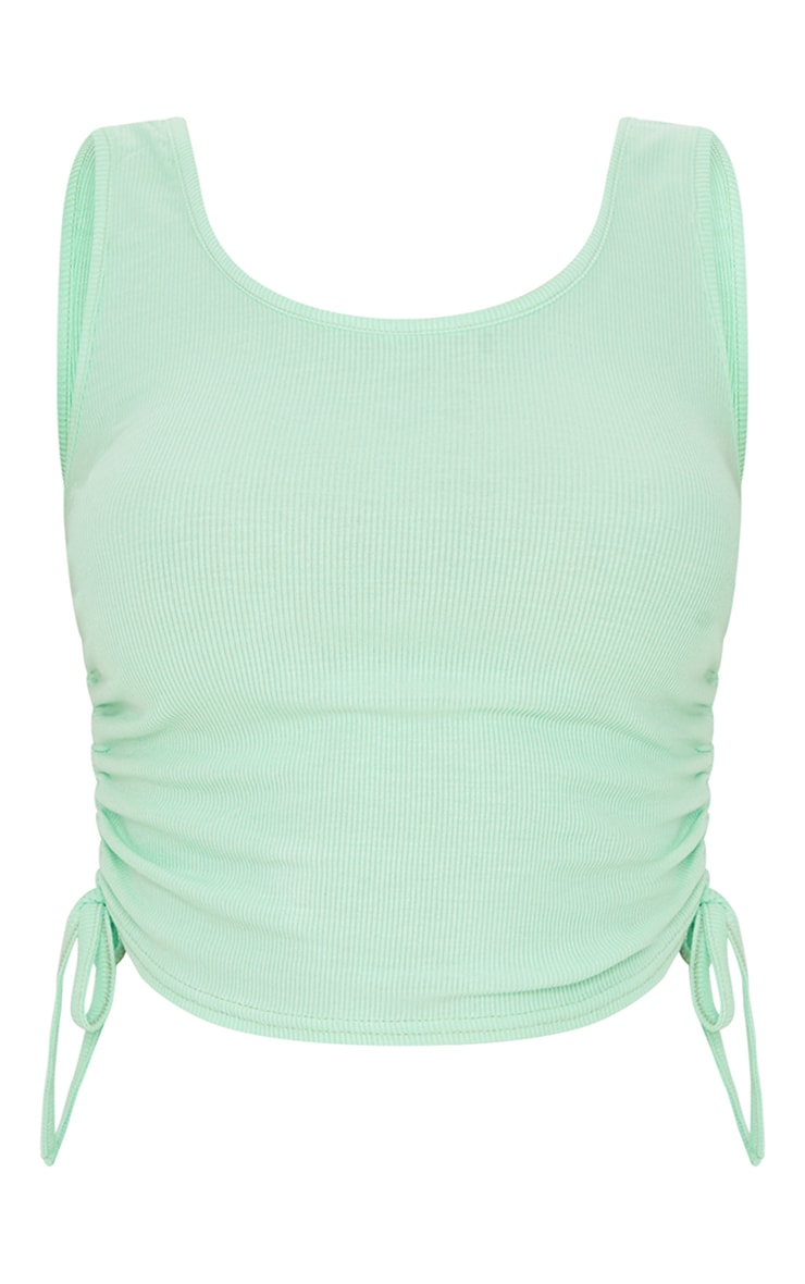 Pastel Green Soft Rib Ruched Side Vest Top 5