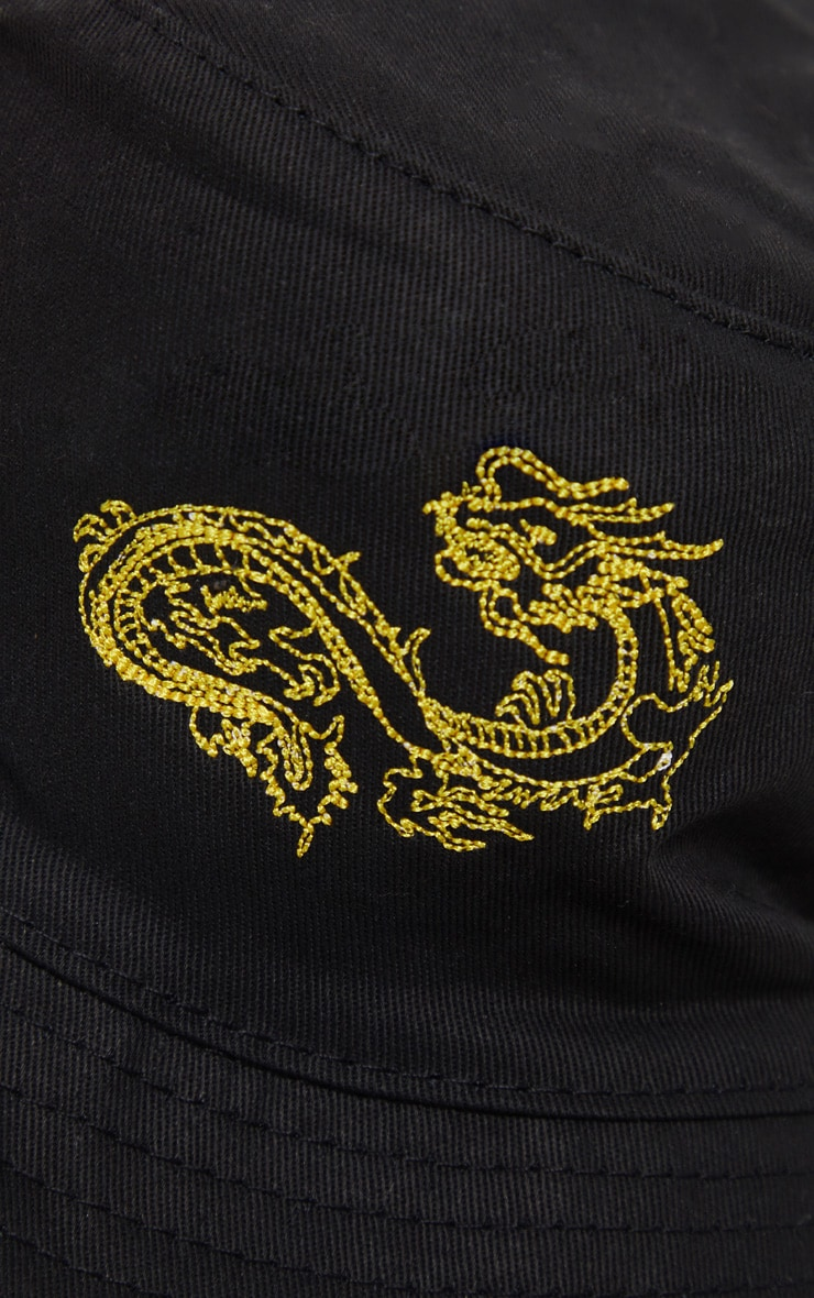 Black Dragon Embroidered Bucket Hat 3