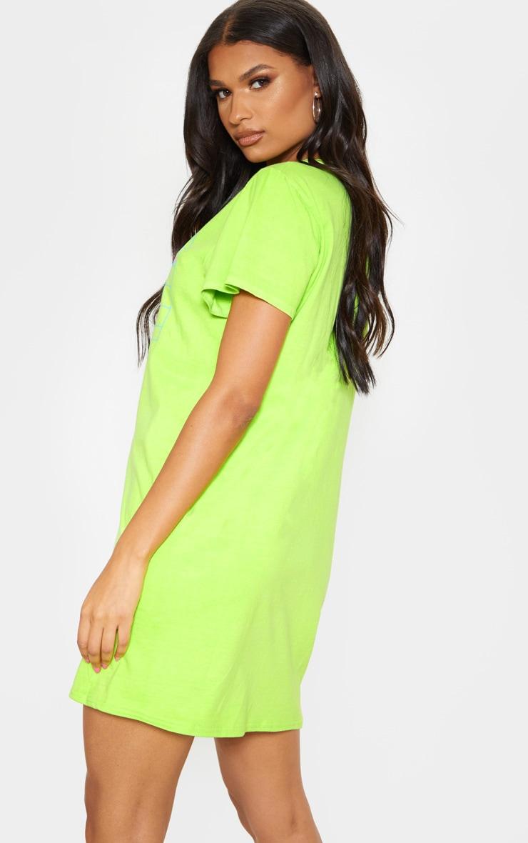 Lime Brooklyn Slogan T Shirt Dress 2