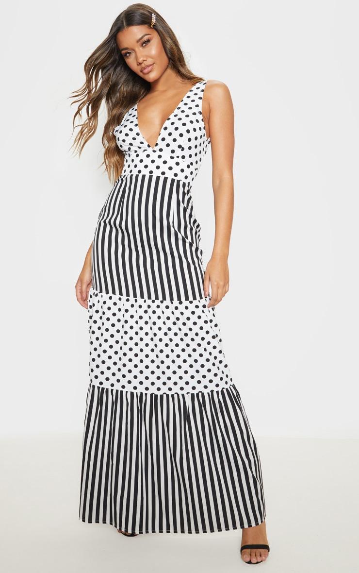White Stripe Polka Dot Mixed Print Maxi Dress 1