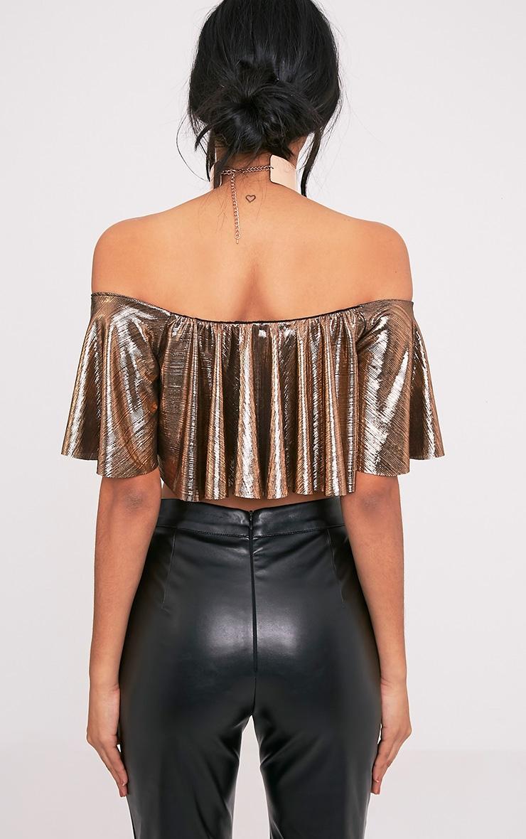 Tobie Copper Metallic Bardot Ruffle Crop Top 2