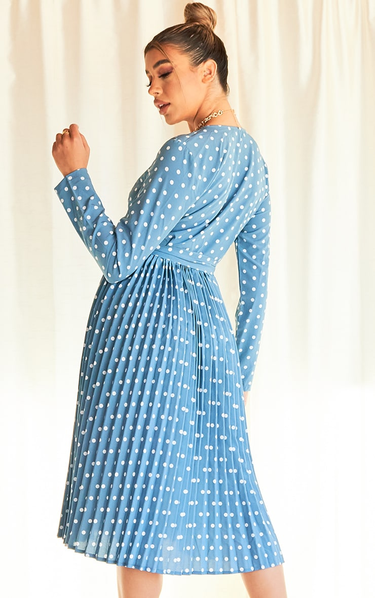 Blue Polka Dot Long Sleeve Pleated Midi Dress 2