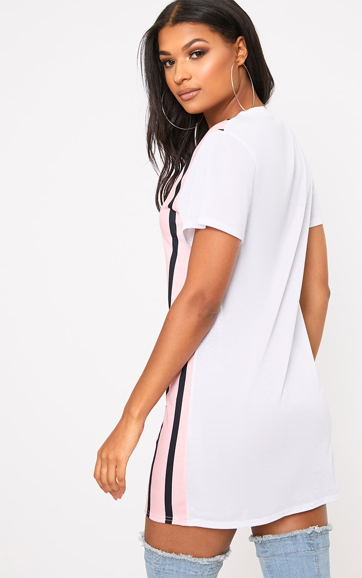 Pink Contrast Stripe T Shirt Dress 2