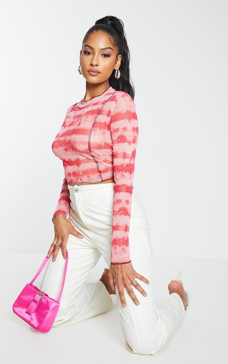 Pink Contrast Seam Tie Dye Print Mesh Long Sleeve Top 1