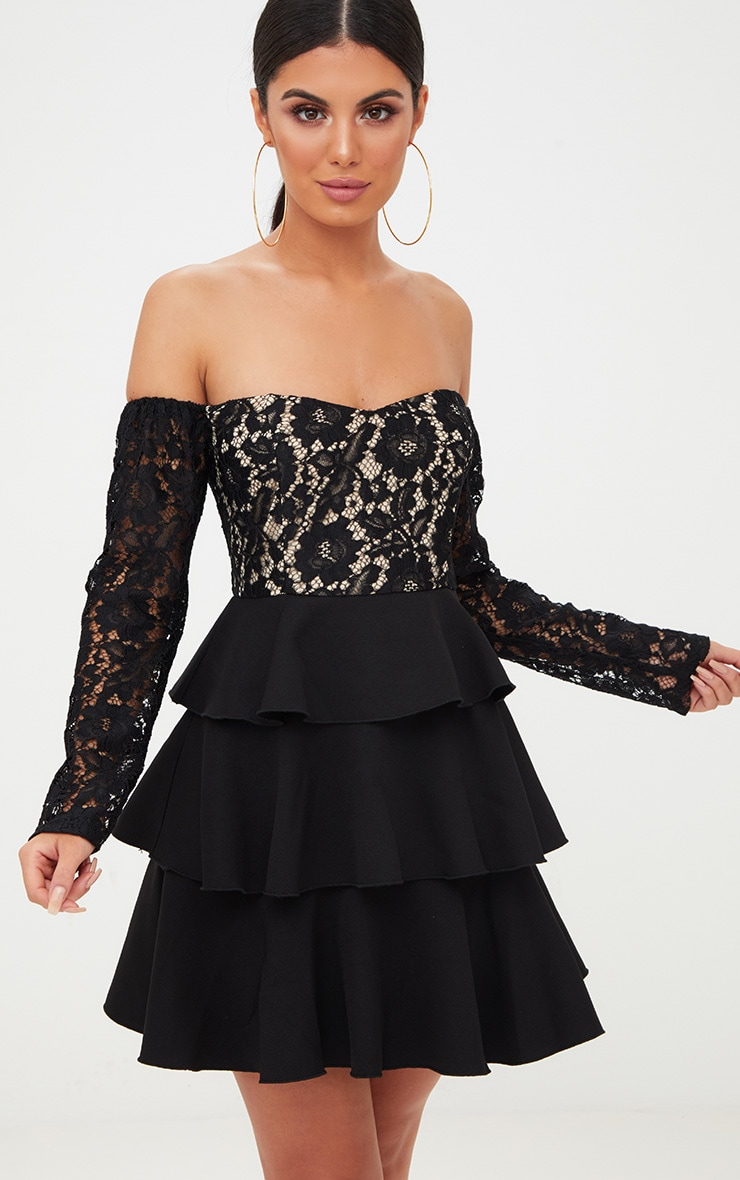 Black Lace Top Frill Detail Skater Dress  1