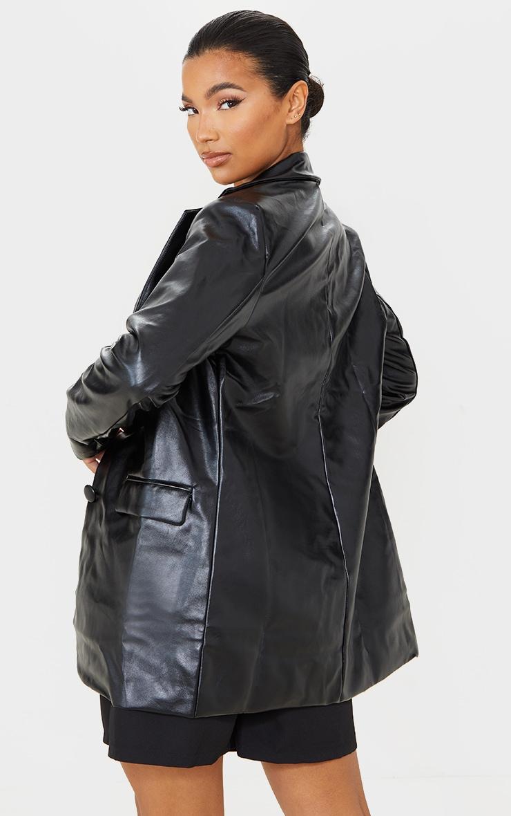 Blazer oversize en similicuir noir à ourlet arrondi et épaulettes 2