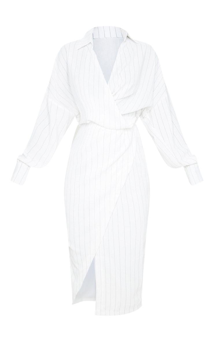 White Pinstripe Midi Shirt Dress 3