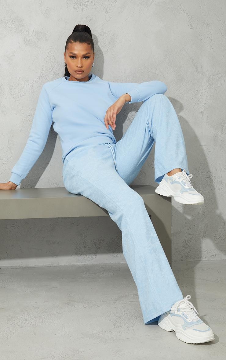 Recycled Pale Blue Basic Slim Sweatshirt 3
