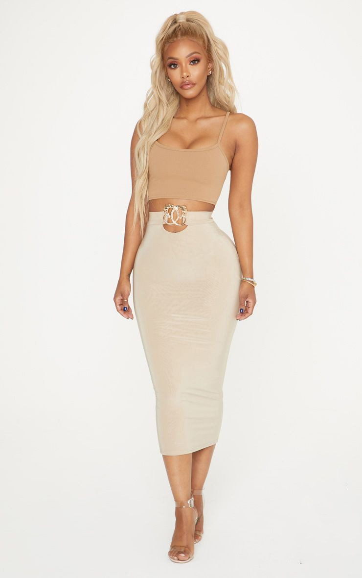 Shape Stone Slinky Belt Trim Midi Skirt 1