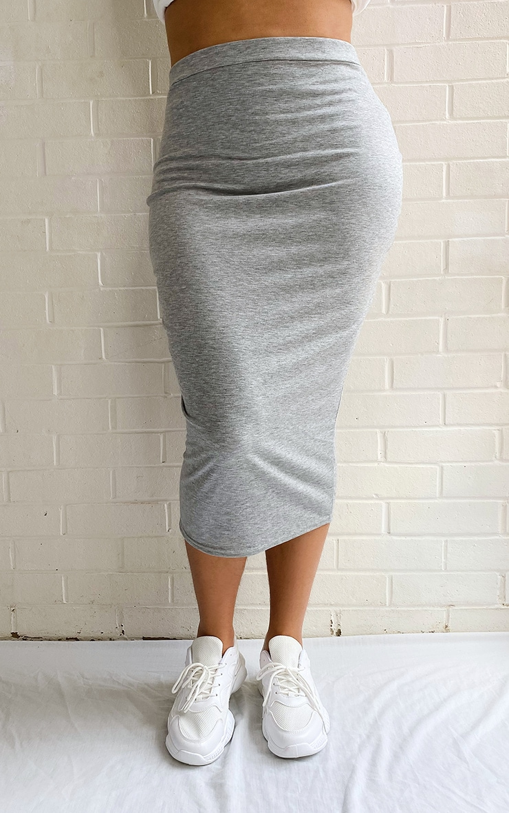 Plus Grey Marl Ultimate Jersey Longline Midi Skirt 2