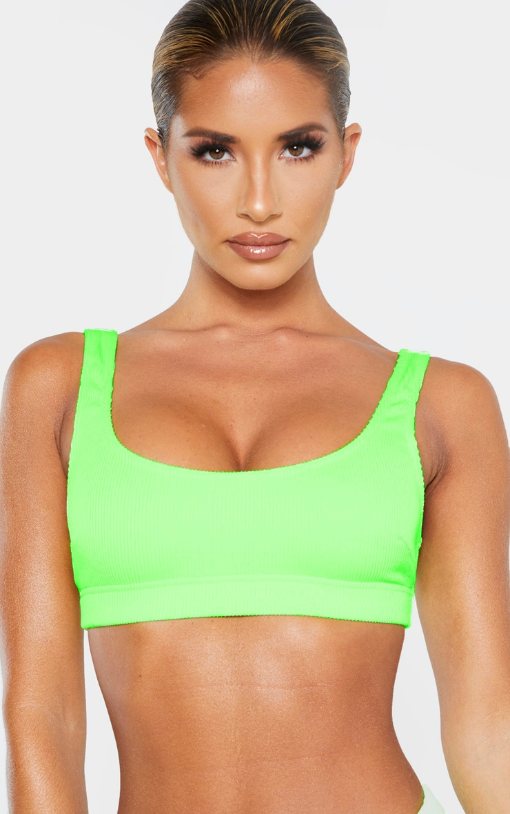 Lime Mix & Match Ribbed Elasticated Scoop Bikini Top 5
