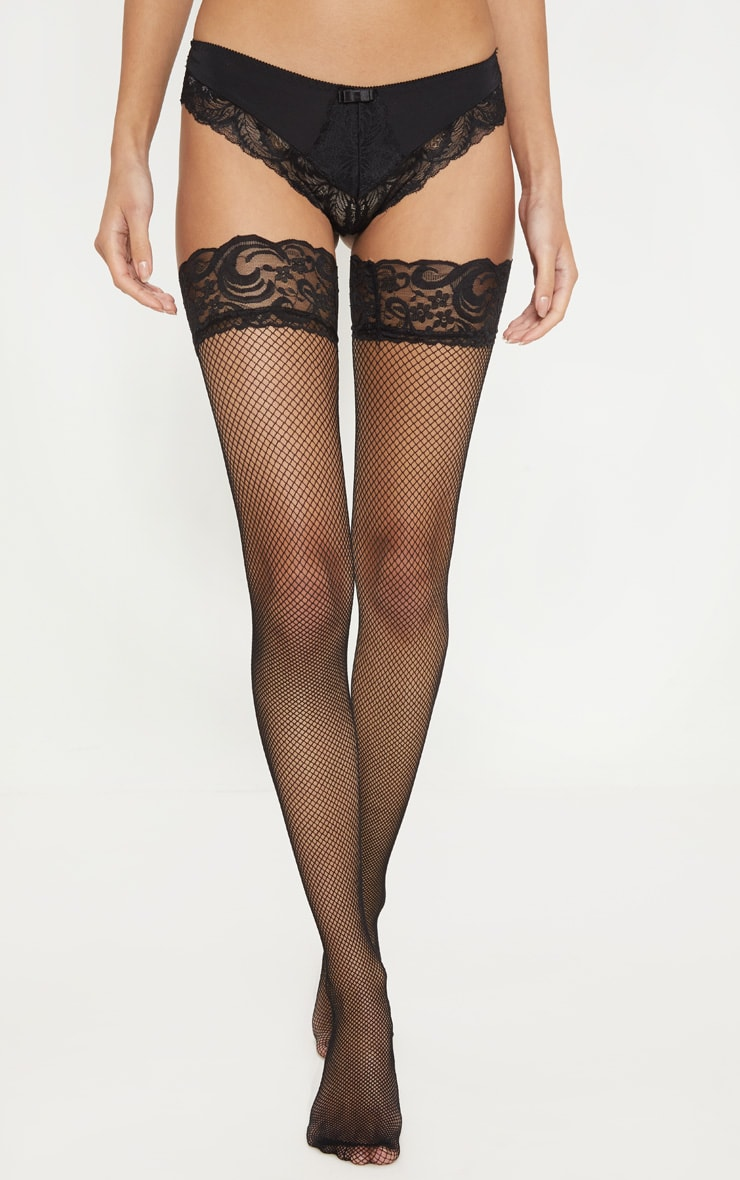 Black Seam Detail Fishnet Hold Ups