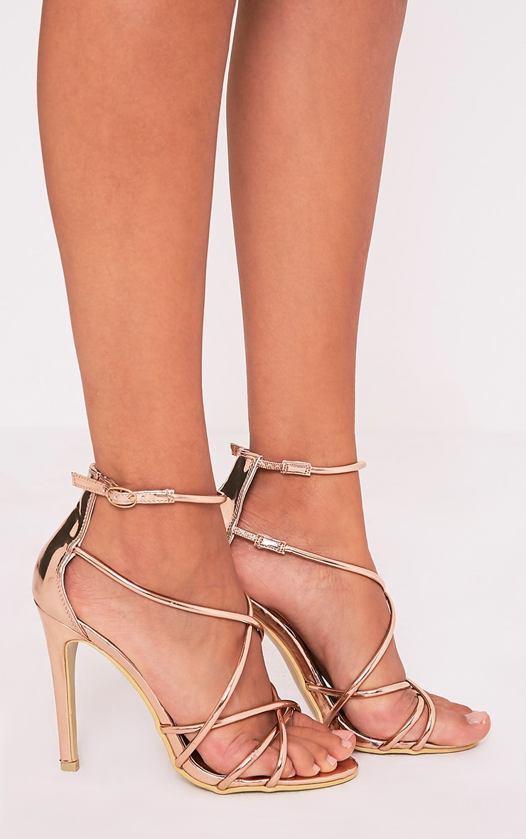 Duaya Rose Gold Metallic Multi Strap Heeled Sandals