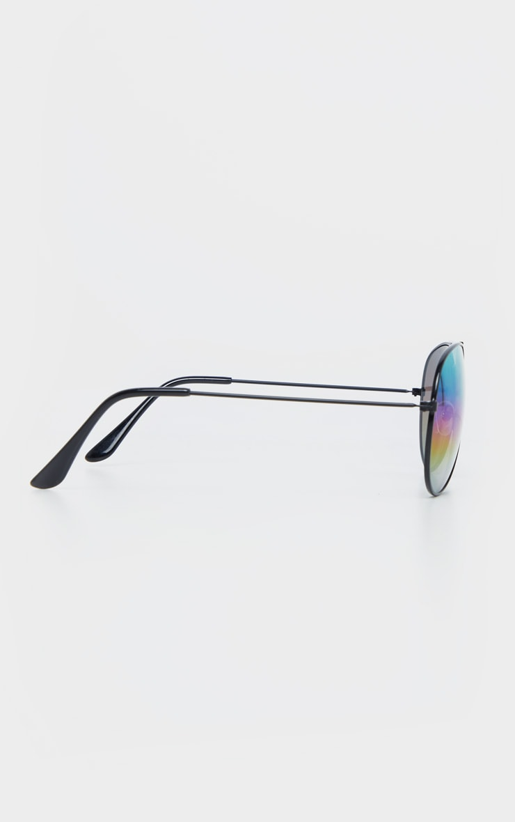 Black Multi Rainbow Effect Revo Lens Aviator Sunglasses  3