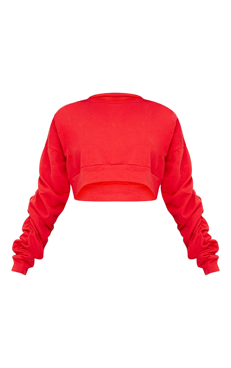 Red Ruched Sleeve Oversized Cropped Sweater 3