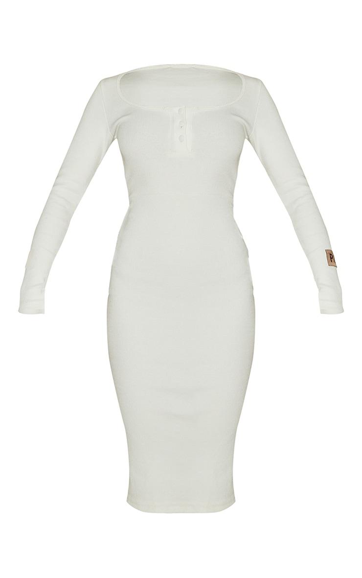 PRETTYLITTLETHING Cream Slogan Rib Button Up Long Sleeve Midi Dress 5