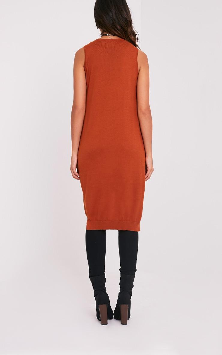 Arlais Orange Long Line Fine Knit Cardigan 2