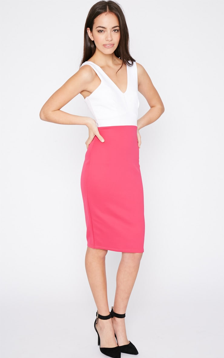 Adella Pink Bodycon Panel Dress 1