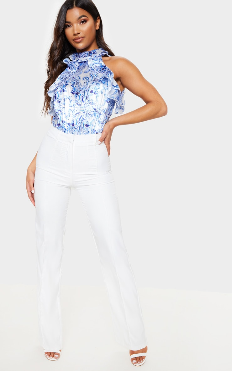 Blue Porcelain Ruffle High Neck Sleeveless Bodysuit 3