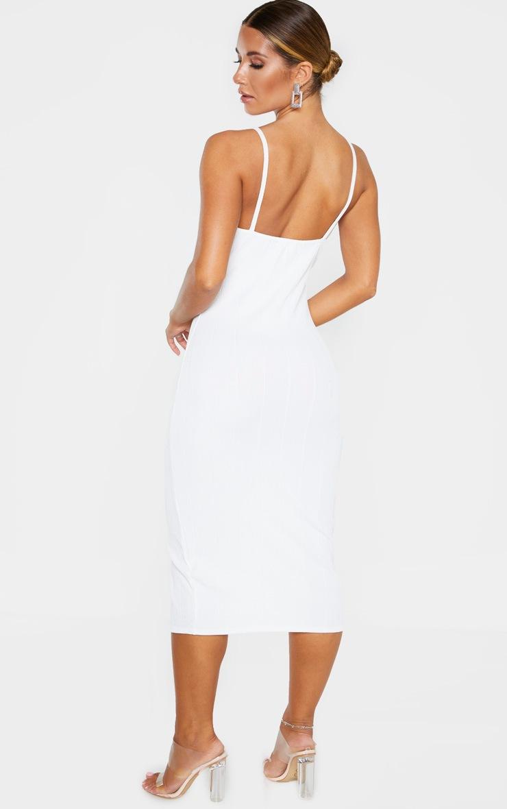 White Bandage Rib Strappy Eyelet Detail Midi Dress 2
