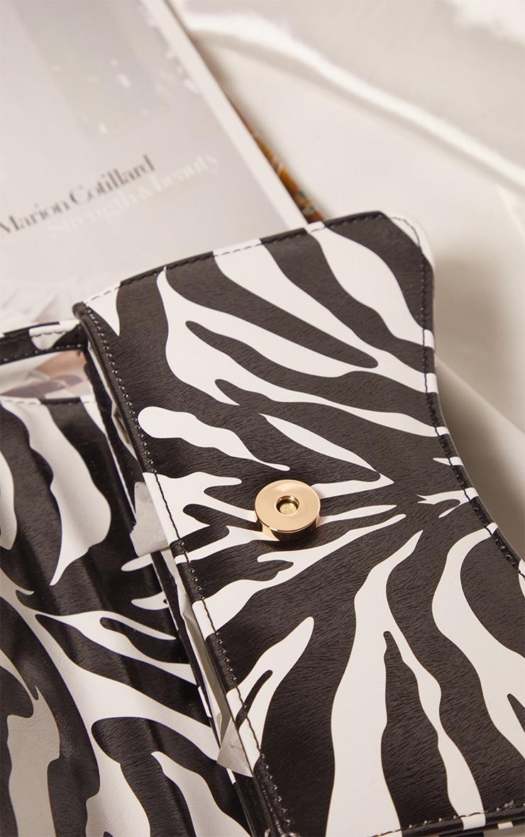 Zebra PU Flap Over Baguette Shoulder Bag 4
