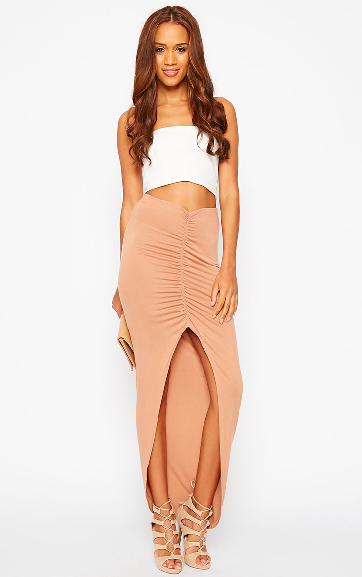 Omari Camel Ruched Front Jersey Maxi Skirt 5