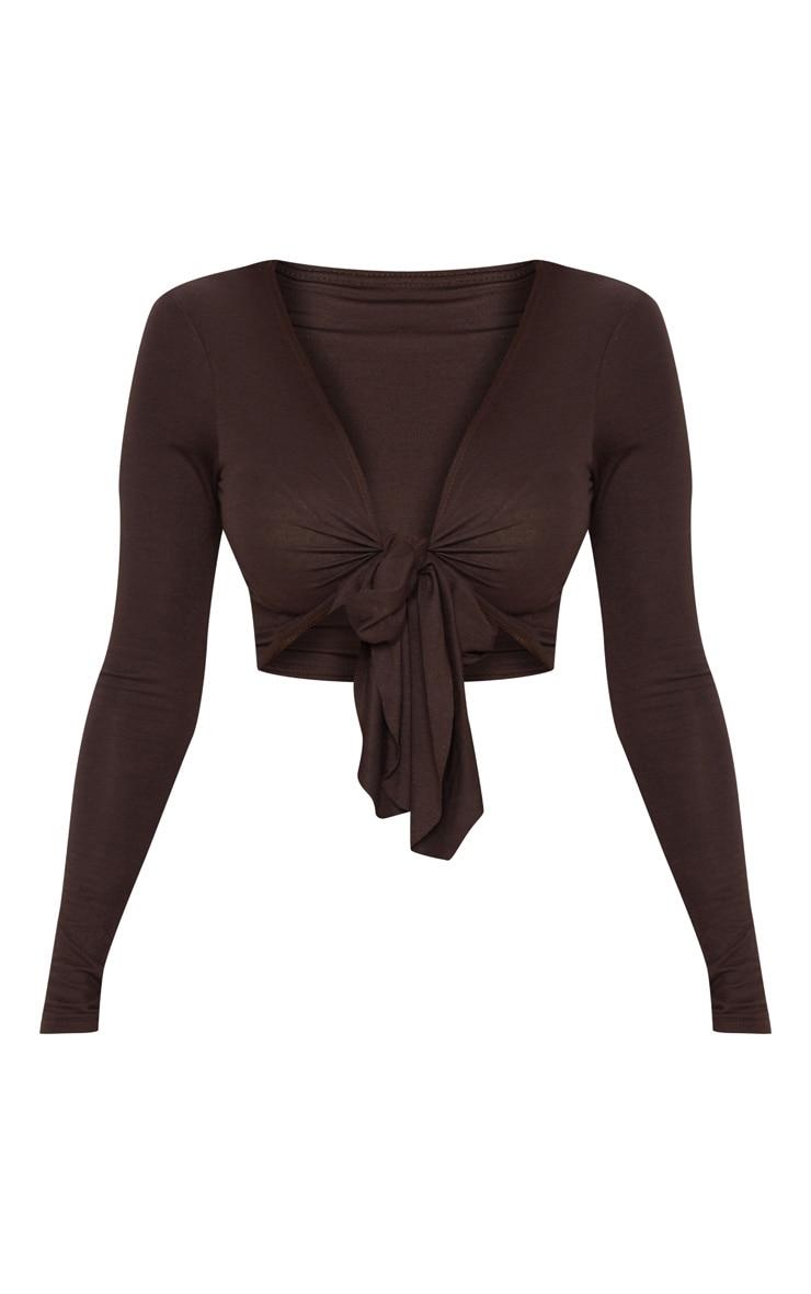 Chocolate Long Sleeve Tie Front Crop Top 3