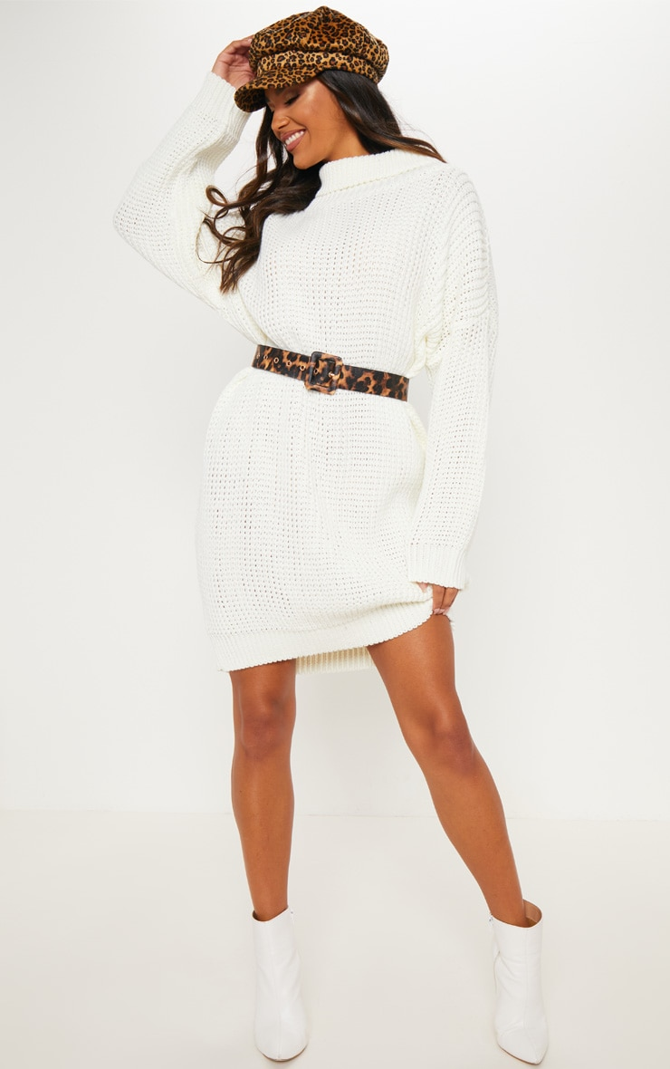 86eaa0cbad5 Cream Oversized High Neck Knitted Jumper Dress image 1