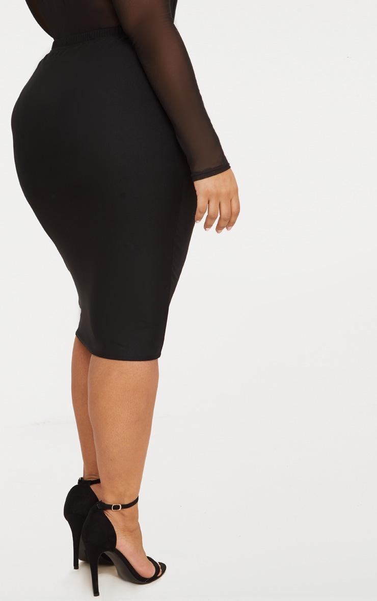 Plus Black Mesh Midi Skirt 4