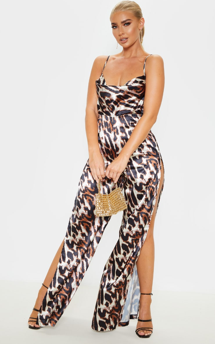 Tan Leopard Satin Cowl Neck Extreme Split Jumpsuit 1