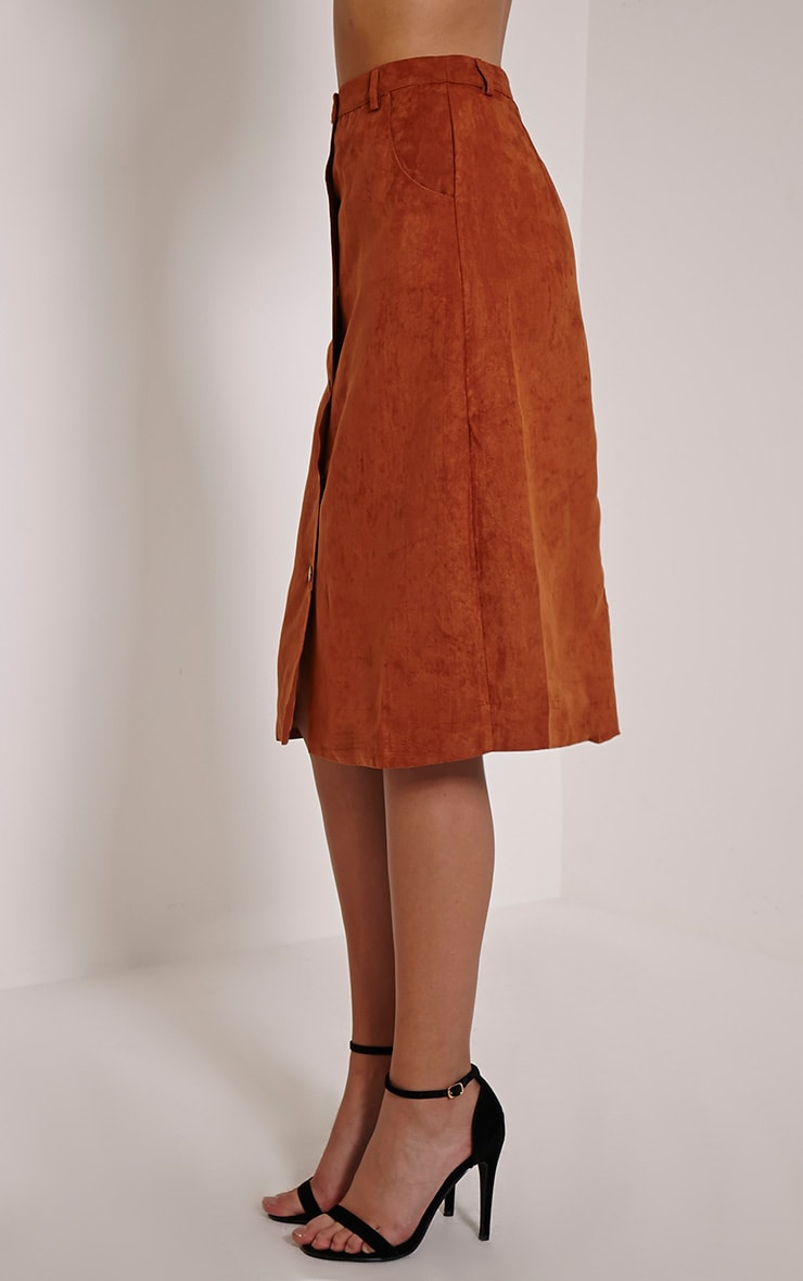Zahara Rust Faux Suede Button Down Midi Skirt 4