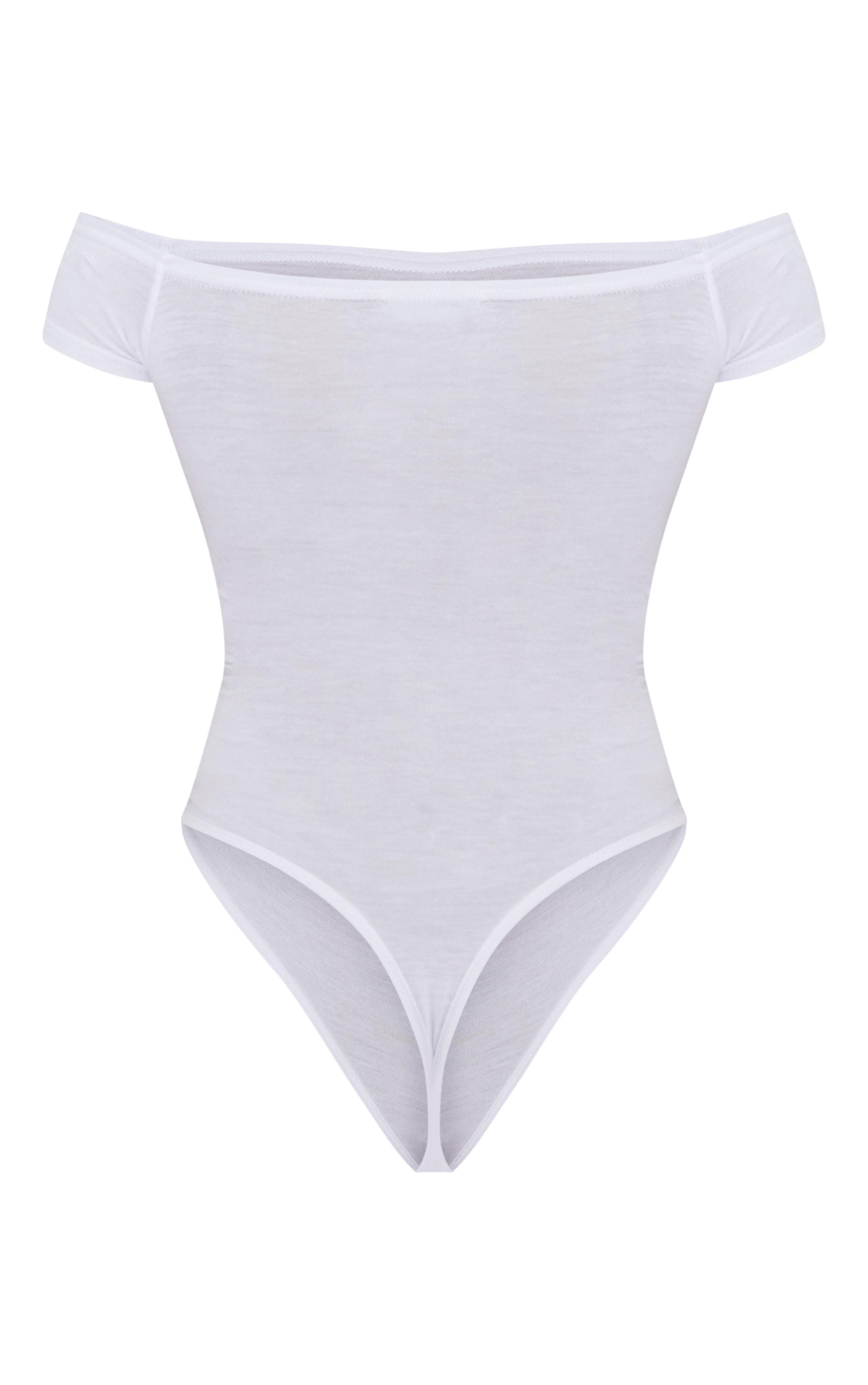 Petite White Bardot Short Sleeve Bodysuit 4