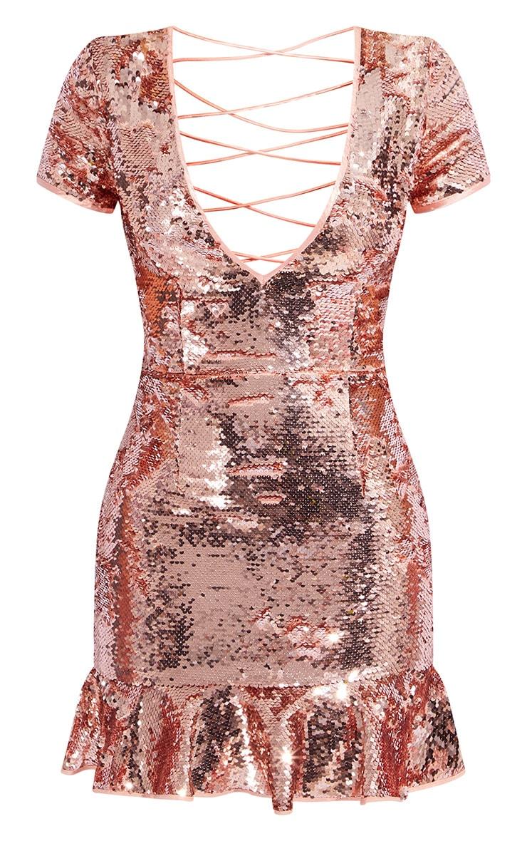 Rose Gold Sequin Criss Cross Back Frill Hem Bodycon Dress 5