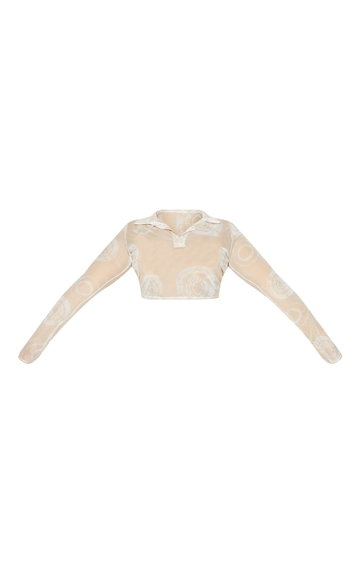 Plus Nude Tie Dye Print Mesh Button Up Collared Crop Top 5