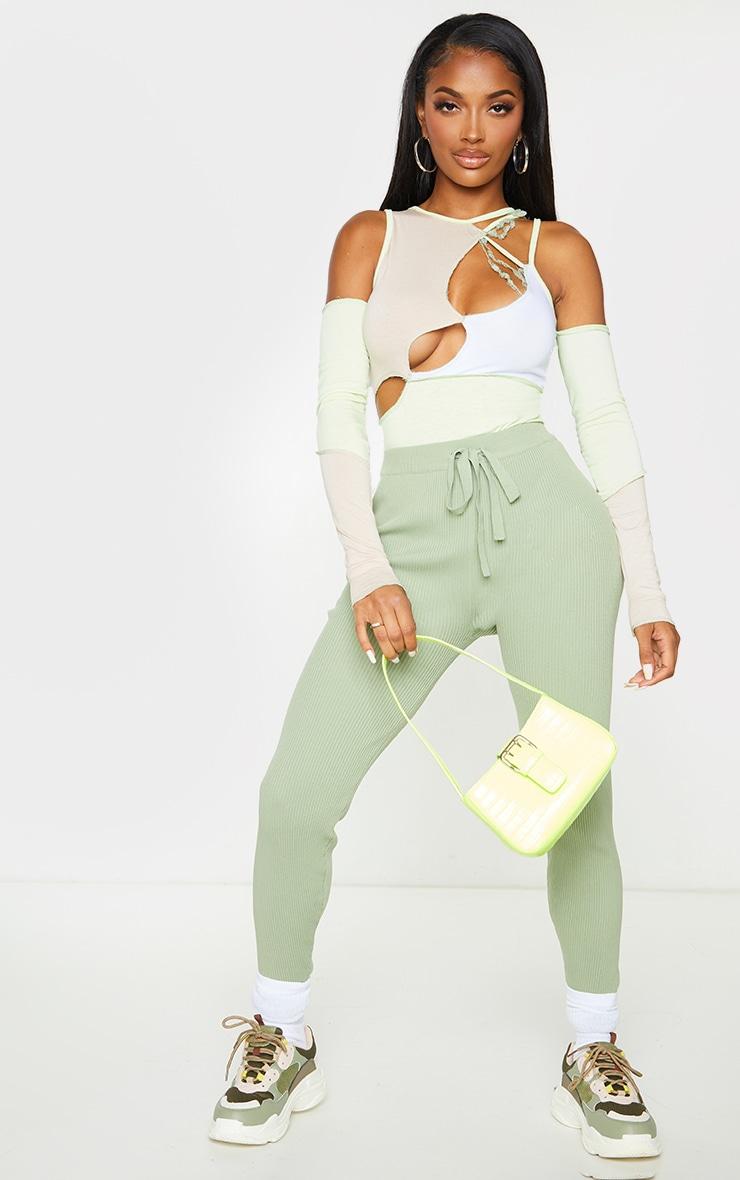 Shape Lime Panel Cut Out Overlock Seam Detail Bodysuit 3