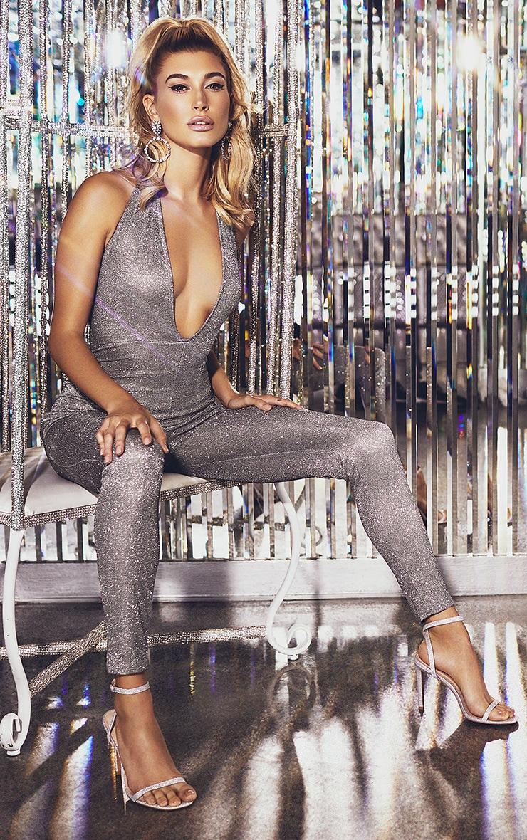 Silver Glitter Halterneck Slim Leg Jumpsuit