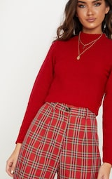 Red Ribbed Cropped Knitted Jumper 5
