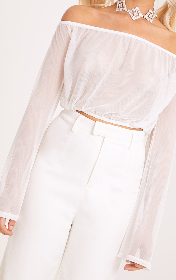 Yessica White Mesh Bardot Flare Sleeve Crop Top 4