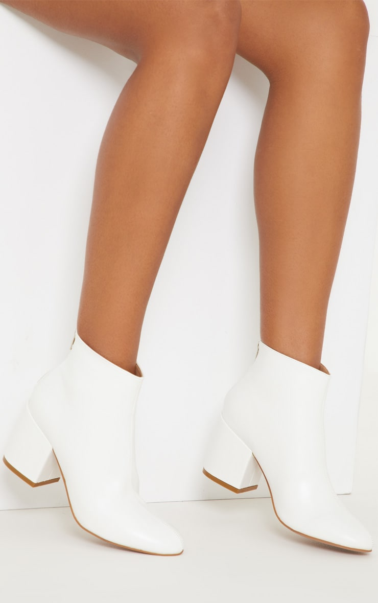 White PU Zip Back Ankle Boot 1