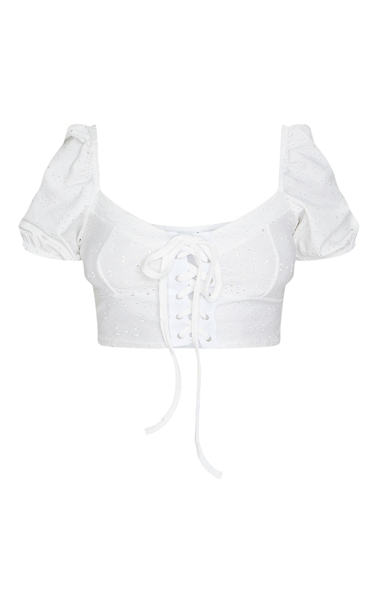 Petite White Milkmaid Lace Up Crop Top 5