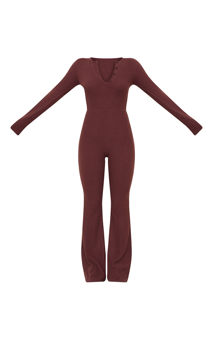Chocolate Brushed Rib Button Front Long Sleeve Jumpsuit 5
